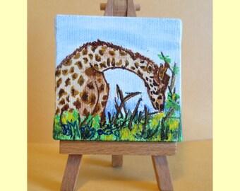 "Giraffe , Mini Painting With Easel , Zoo Animal , 3"" x 3"" Canvas"