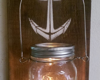Mason Jar Wall Sconce Candle Anchor Design