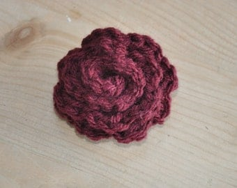 Burgundy crochet flower brooch