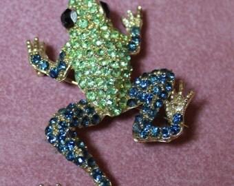 Crystal Frog Pin/Leaping Frog Pin