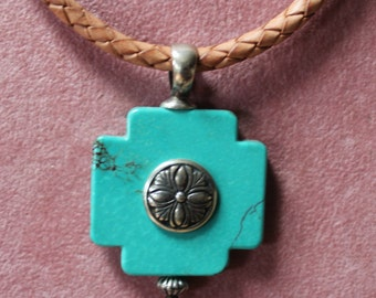 Vintage Southwestern Turquoise Cross Necklace On Leather Cord