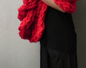 Handknit, Chunky Blanket, Oversized Scarf, Wrap, Long Scarf, Winter, Home Interiors, Blanket, Extra Chunky, Red