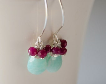 Ruby earrings, Amazonite earrings, Red and blue earrings, Silver gemstone earrings, Mint blue earrings, Aqua blue drop dangle earrings