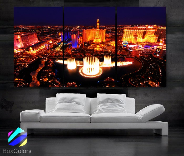 Large Framed Wall Art New York City Landscape Sunset: LARGE 30x 60 3 Panels Art Canvas Print Beautiful