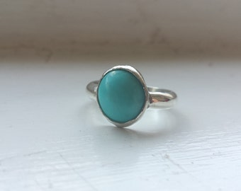 Turquoise and silver ring - Bezel setting - Oval gemstone