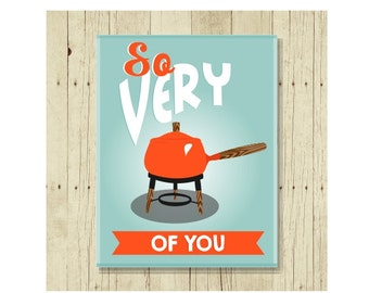 Fondue Pot Magnet, Funny Magent, Refrigerator Magnet, Cute Fridge Magnet, Gifts Under 10, Small Gift, Funny Pun, Romantic Gift, Gift Magnet