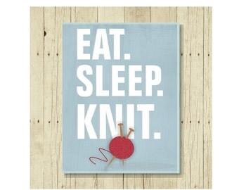 Eat Sleep Knit, Knitter Gift, Refrigerator Magnet, Knitting Art Magnet, Gifts Under 10, Gift for Knitter, Yarn Art, Small Gift, Gift Magnet