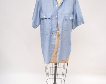 vintage chambray shirt work wear 1960s distressed oversized boyfriend fit
