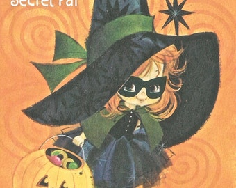 Vintage Halloween cute witch JOL greeting card digital download printable image 300 dpi