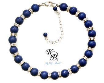 Blue Pearl Bracelet, Blue Lapis Bracelet, Something Blue Bracelet, Bridesmaid Jewelry, Blue Pearl Bracelet, Blue Jewelry, Blue Bracelet