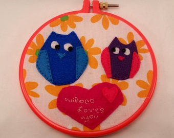 Whoo Loves You wall hanging embroidery with owls perfect gift