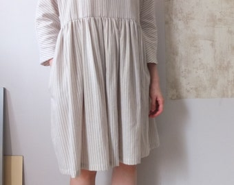 linen  pinstripe grown-on sleeves deep v-neck dress
