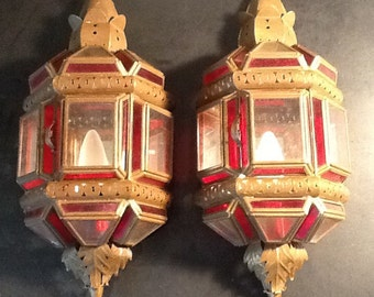 Pair of Moroccan wall lamps