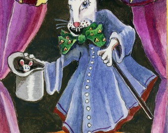 Magician Bunny, Art Print of Original Watercolor Painting