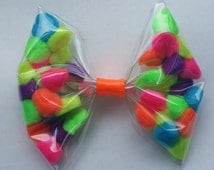 Clear Transparent Seethrough Neon Colors Pom Pom Happy Bright Hair Band Clip Bow