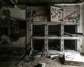 Abandoned Morgue, Decayed, Forgotten, Abandoned Building, Modern Home, Office Decor, Rural, Haunted, Asylum, Urban Exploration, Creepy Photo