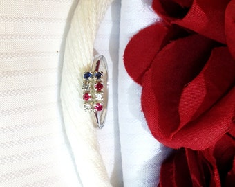 Sparkling Red, White and Blue Ring ~ 925 Sterling Silver ~ Size 7.5