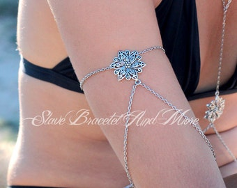 Armlet upper arm chain silver plated flower Bohemian Boho Chic Boheme Hippie Vintage Hipster hand body jewelry