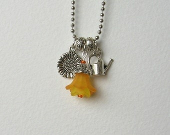SALE!  Love To Garden Charm Necklace, Yellow, Orange, Sunflower, Watering Can, Flowers