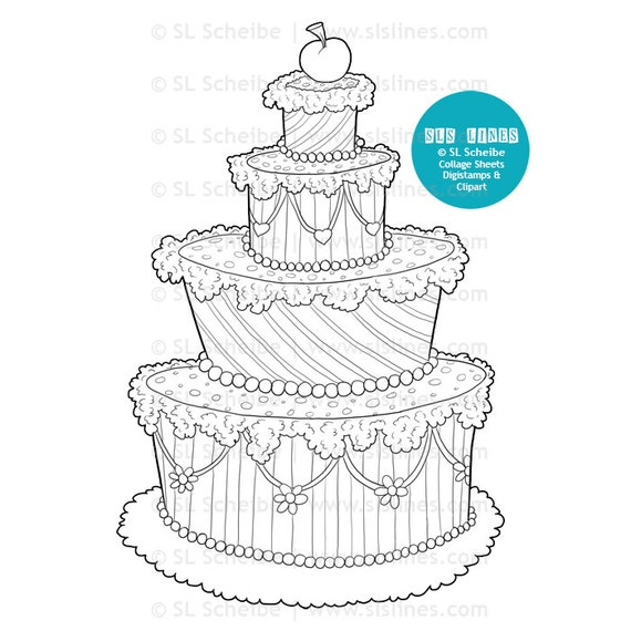 Cake Digital Stamp Whimsical Cake Digistamp Wedding Cake Coloring