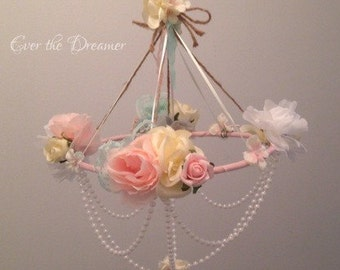 Flower mobile Chandelier Vintage Rose chandelier mobile baby girl bedroom nursery decor shabby chic pretty rose mobile