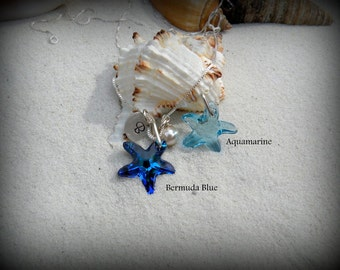 Starfish necklace, Ocean necklace, Crystal starfish necklace