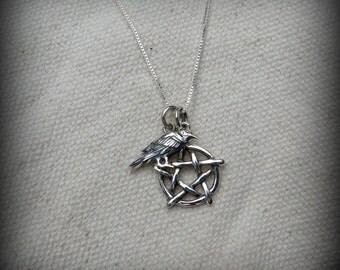 Pentagram necklace, Wicca necklace, Raven necklace, Pegan