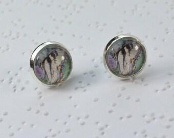 Photo Earrings, Butterfly Earrings, Photography Earrings, Photograph Earrings, Butterfly Jewelry, Stud Earrings, Glass Cabochon Earrings