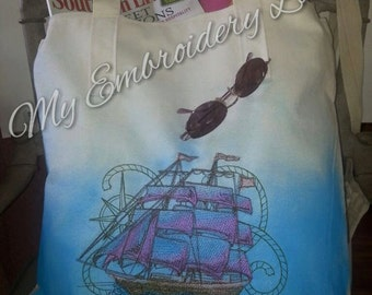 Zippered Canvas Tote Bag - Embroidered - Nautical