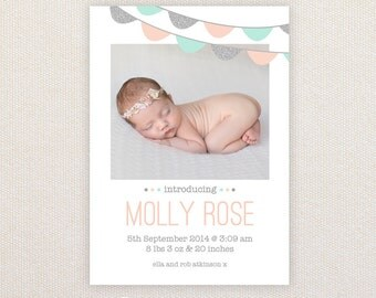 Girls Photo Birth Announcement. Silver Glitter Buntings. I Customize, You Print.