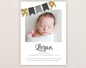 Boys Photo Birth Announcement. Gold and Black Buntings. I Customize, You Print.