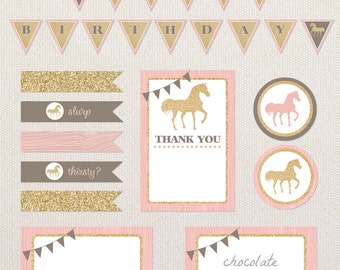 INSTANT DOWNLOAD printable party kit. Gold Pony birthday printables. PDF files.