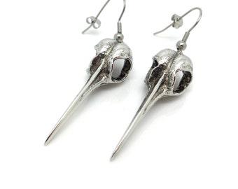 Hand Carved Hummingbird Skull Earrings in Pewter, Bird Skull Earrings