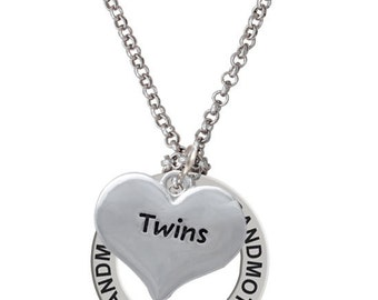 Twins Heart Charm Necklace - Affirmation Jewelry, Twins Gifts, Silver Plated Twins Heart Necklace, NAF-C4145-C3200-F2295