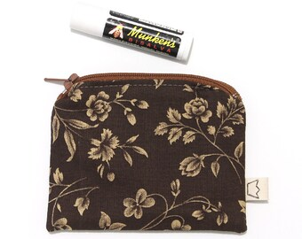 Clearance sale - Brown coin pouch small zip pouch cotton with flowers