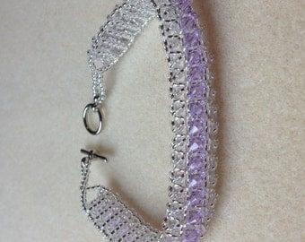 Beaded Sawarovsi Crystal Bracelet-Light Purple-8 in.