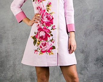 SUMMER SALE Pale pink trench coat/ Summer coat/ Rose trench coat/ Fitted trench coat