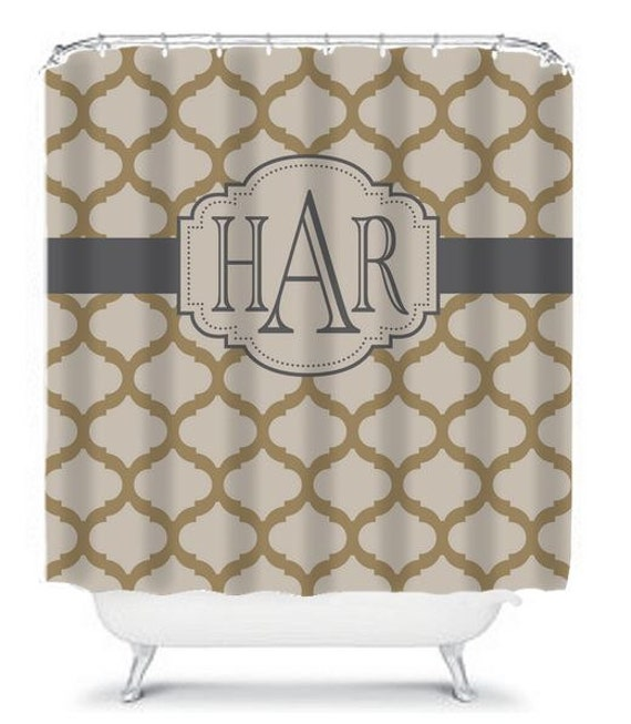 Quatrefoil SHOWER CURTAIN Tan Gray Biege Custom By TRMDesignShop