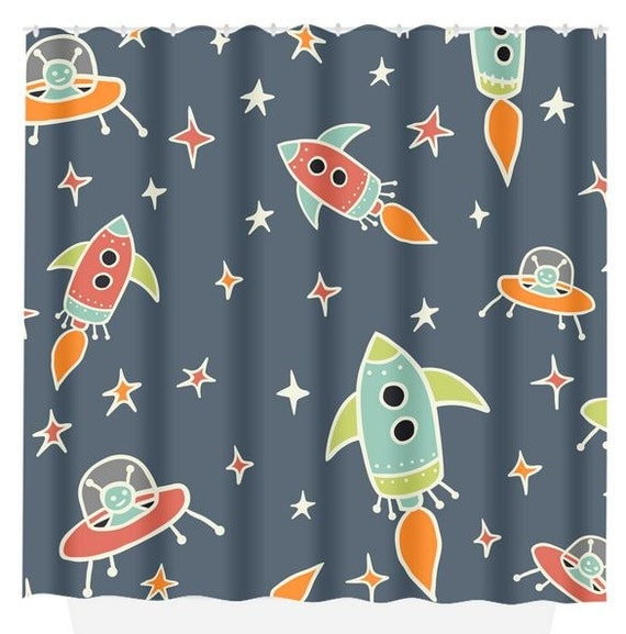 Rocket Shower Curtain Custom Monogram Outer Space By Trmdesignshop