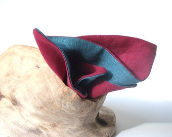 Double Sided Linen Pocket Square in Teal and Burgundy. Linen Handkerchief