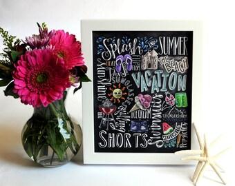 Beach House Decor, Beach House, Beach Art, Summer Art, Typography, Chalk Art, Chalkboard Art, Summer