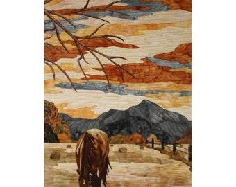 """Horse landscape,Textile Art """"Sérénité"""""""