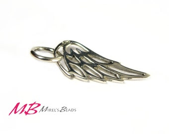 Sterling Silver Angel Wing Charm, Small Wing Pendant