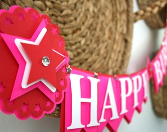American Girl Birthday Banner - American Girl Themed Birthday - Birthday Decorations - Pink and Red Birthday Banner - Stars Themed Birthday