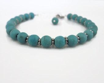 Turquoise bracelet, gemstone bracelet, stacked bracelet, UK bracelet, UK seller