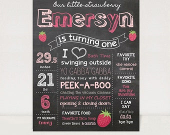 First Birthday Chalkboard Printable Poster - Strawberry theme - Pink Chalk board sign 1st birthday party - DIGITAL FILE!