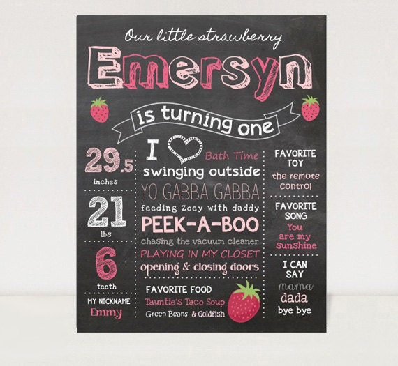 First birthday chalkboard printable poster strawberry theme for First birthday chalkboard printable