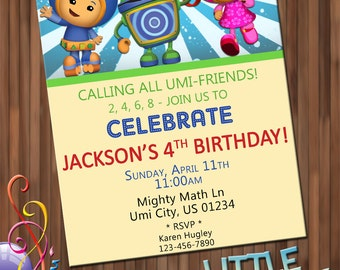 Team Umizoomi Birthday Invitations - Personalized Printable File