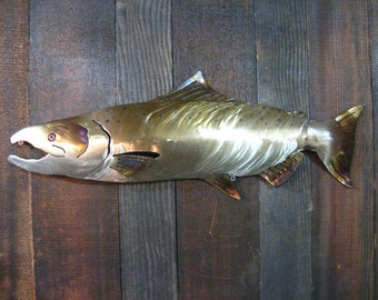 Chinook Salmon Metal Art, Salmon sculpture,metal sign, fathers day gift,home decor, man cave, gift for men, gift for fisherman
