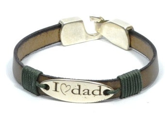 personalized jewelry for Dad, I love dad, new dad gift, engraved leather bracelet, gifts for dad, gifts for men, men bracelet